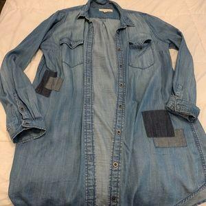 Patched Denim Button-Up Cardigan/Dress